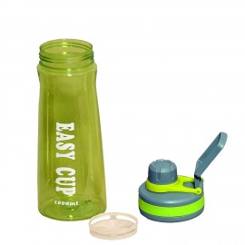 Plastic Water Bottle in Green Color, 1000 ML, Assorted