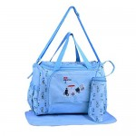 Multipurpose Baby Diaper Bag Color Blue (Bottle Cover & Mat Included)