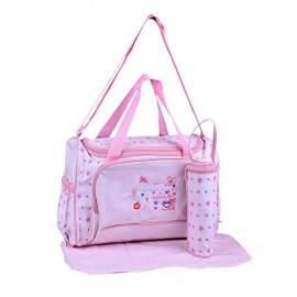 Multipurpose Baby Diaper Bag Pink (Bottle Cover & Mat Included)