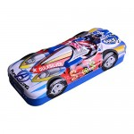 Multicolor Cartoon Printed Car Shape Metal Pencil Box with Accessories Pencil Box Inside Similar Outer Pencil Box for Kids